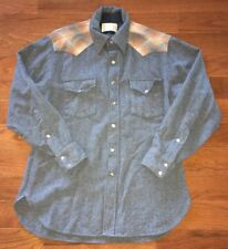 Vtg Pendleton HIGH GRADE WESTERN WEAR Mens Snap Button Front Flannel Size L Wool