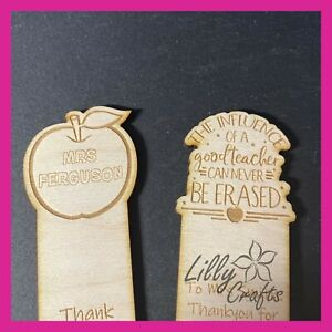Personalised Engraved Wooden Teachers Gift Bookmark