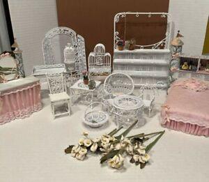 Vintage Wire Wicker Furniture Princess Bed Set Flowers Dollhouse Miniature 1:12