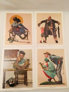 1972 Small Unframed Lot of 4 Norman Rockwell Litho Print Curtis Publishing 8x10""