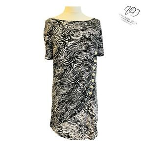 Bonprix B.P.C Women Size M/L 14 UK Black & White Button Flare Dress