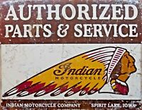 PLAQUE METAL vintage USA moto biker INDIAN parts & service   40 X 30 CM