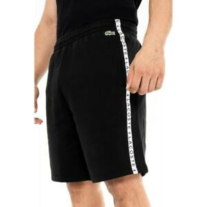 LACOSTE Mens GH6866 Taped Logo Shorts (Black)