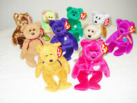 Ty Beanie Babies Bears, Assorted Lot of 10