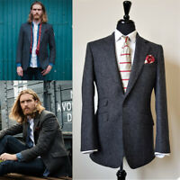 Men's Suits Slim Fit Vintage Tuxedos Dinner Work Wear Notch Lapel Herringbone