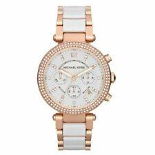 Michael Kors Gold Catlin Brown Leather Swarovski Crystal 38mm Watch Mk2375