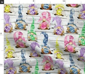 Bunny Gnome Medium Scale Stripe Egg Multicolor Spoonflower Fabric by the Yard