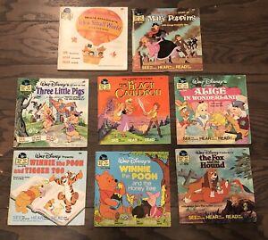 Lot of Eight (8) VintageWalt Disney's Disneyland Book and Record-SEE HEAR READ