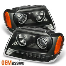 99-04 Jeep Grand Cherokee Black Projector Headlights Head Lamp Replacement Pair