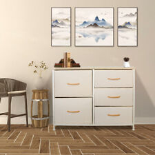 Storage Cabinet 5 Drawers Home Dressers Tower Wood Top Removable Steel Beige