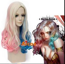 Wave Wig Women's Wig Heat Resistant Hair Cosplay Pink Blue Blonde Wig+Cap