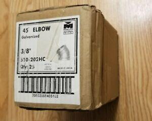 """(25) Mueller 3/8"""" Galvanized 45° Elbow"""
