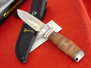 "Browning Knives Model 814 8-1/2"" Polished Leather Fixed Blade Knife MINT"