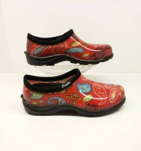 Sloggers Waterproof Garden Red Paisley Slip On Shoe Women's US Size 6