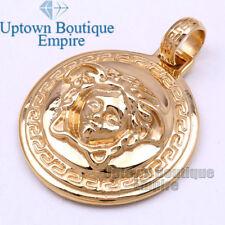 P23 Men Stainless Steel Gold Medusa Medallion Pendant