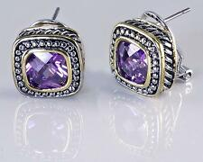 Designer Style Amethyst Purple CZ Earrings Rope Silver Gold 18KGP Omega Back