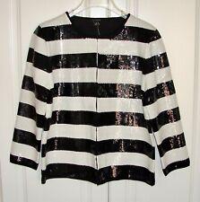 NWT Ann Taylor sz M black/white striped sequined jacket blazer $179