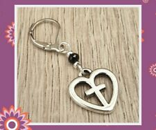 Single Heart Earring Silver Black Cross Mens Gents Goth Gothic Wing Gift Mans