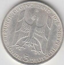 Coin 1978D Deutsches Bundes Republik Germany Gustav Stresemann 5 mark silver