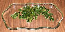 Vintage Jeannette Glass Green Camellia Pattern Relish or Trinket Dish.