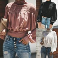 Women Fashion Solid Blouse Turtleneck Ruched Lantern Long Sleeve Shirt Loose Top