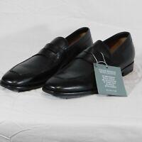 NIB $695 ERMENEGILDO ZEGNA Black Pebble Grain Leather Loafer US 10.5 Shoes