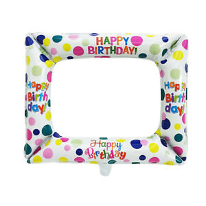 SELFIE FRAME BIRTHDAY FOIL PARTY WEDDING BALLOON INFLATABLE PHOTO BOOTH PROP UK