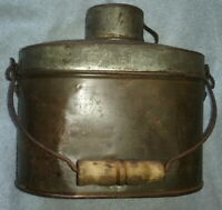 5 Part Tin Lunch Pail with Wooden Bail and Original Cup, Antique 19th Century