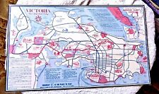LOVELY VINTAGE CARTOON MAP VICTORIA THE GARDEN CITY CANADA 1966 HIGHWAY 1A