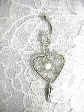 NATIVE SPIRIT HEART DREAM CATCHER WHITE BEAD & DANGLING FEATHER 14g BELLY RING
