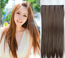 Haarteil Haarverlängerung Halbperücke 5 Clips in Extension 60cm lang glatt Neu