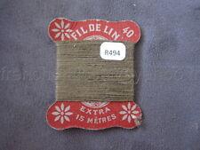 R494 Mercerie collection ancienne carte FIL DE LIN N°40 brun kaki Thread Card