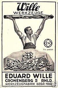 Werkzeuge Wille Cronenberg Reklame 1928 Bohrer Metall Metaller Werkzeugfabrik Ad