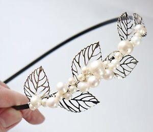 leaves & pearls side tiara freshwater pearl silver leaves black wedding headband