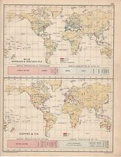 1912 MAP/CHART ~ THE WORLD ~ OILS PETROLEUM VEGETABLE & COPPER TIN PRODUCTION