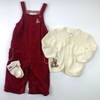 Janie and Jack Girls Teddy Bear Overalls Sweater Socks Set 6-12 Months