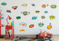 19 Pcs Superhero Jumbo Words Wall stickers Nursery Decal  Kids Decor Art Mural