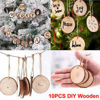 10Pcs/Set DIY Craft Christmas Xmas Wood Chip Hanging Pendant Ornament Home Decor