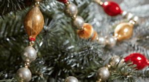 Antique Vintage Style Christmas Bead Garland - Mercury Glass 180cm Traditional
