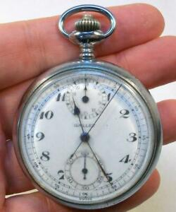 Vintage Signed GALLET Stop Watch CHRONOGRAPH Pocket Watch - Works!