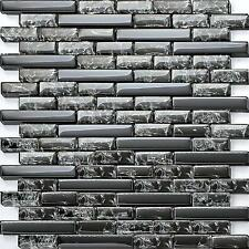 Black Crackle and Plain Glass Wall Mosaic Tiles Designer Block Effect GTR10074