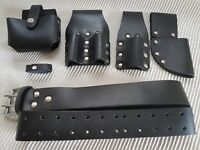 Scaffolding Black leather Tool work Belt Full Tools Set Frog 4 Pouch Pockets