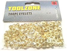 200PC Brass Eyelet Set 8MM DIAMETER  4MM INNER Hole Makers Leather Eyelets PL231