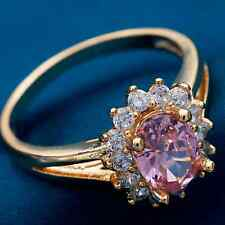 Ring Size K 9ct Gold Pink Sapphire & Diamonds Cluster Oval Gift
