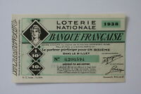 FRANCE LOTERY TICKET 1938 B20 BK155