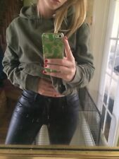 Zara Woman Black Leather Look Shine Coated Medium Rise Slim Fit Trousers