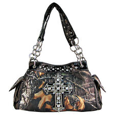 BLACK RHINESTONE MOSSY CAMO LOOK CROSS SHOULDER HANDBAG WESTERN BRAND NEW
