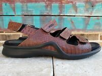 Ecco Womens Sandals Size 41 US 10-10.5 Ankle Strappy Brown Croc Print Leather
