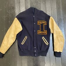 Vintage 1950s Chicago Basketball Wool Letterman Jacket 44 Long