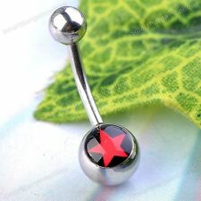 """1pc Red Star Enamel 3/8""""L Bars Barbell Steel 14G Navel Belly Button Rings Studs"""